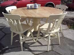 shabby chic solid pine farmhouse country round table and 5 chairs in farrow ball cream