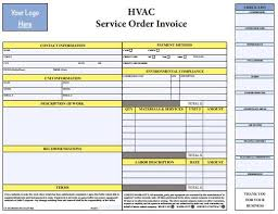 Service Invoice Template Excel Interesting PDF HVAC Invoice Template Free Download HVAC Invoice Templates In