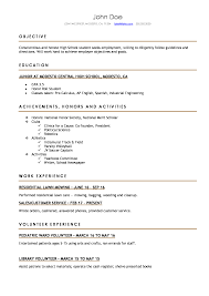 Template For Resume High School Resume Resumes Perfect For High