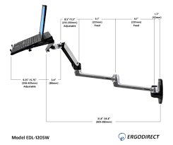 dimensions of long laptop arm edl 1205w