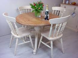 excellent pine round pedestal table and 4 farmhouse chairs painted vintage regarding round pine pedestal dining table attractive