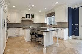 Kitchen Granite Island Upscale Kitchen In Luxury Home With Granite Island Stock Photo