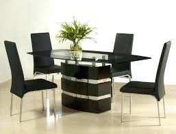 modern glass dining table set black and red tempered chairs contemporary modrest ashland round