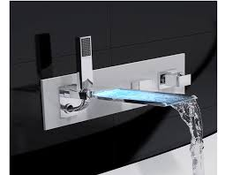nissima wall mount bathtub faucet with led and hand shower