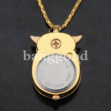 golden silver owl pendant necklace chain quartz pocket watch