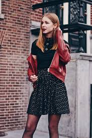 outfit red leather jacket
