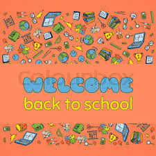Back To School Invitation Template Doodle Welcome Back To School Poster Stock Vector Colourbox