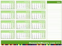 Calendar Quarters Home Life Weekly Free Printable Calendar 2010
