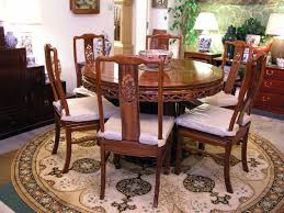 mandarin style round dining table with long life design including 6 chairs