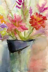abstract flower painting zinnias in a vase watercolor paintings of flowers by beverly brown prints