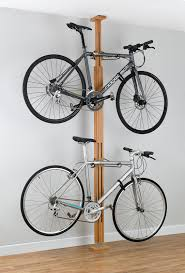 a high end, wooden pressure mount bike rack for apartments, dorms, and  rentals