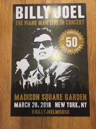 Gryposaurus billy joel classic rock star band poster 18 × 24 inches. Billy Joel Concert Poster Sold Out 3 28 2018 Msg Nyc 50th Show Piano Man Sportscards Com