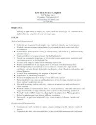 Veterinary Technician Resume Objective Vet Tech Resumes Other Size S