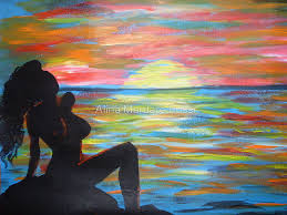 glow colorful sunset beach shadow sea acrylic painting on paper by alina mardare rossi