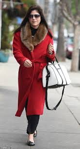 fur real selma blair was spotted out in a red coat that looked a lot