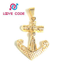 gold anchor pendant costume jewelry stainless steel gold anchor pendant for men solid gold anchor pendant