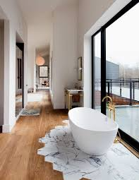 Wood And Marble Floor Designs Mixed Flooring Contemporary Idea To Define Areas