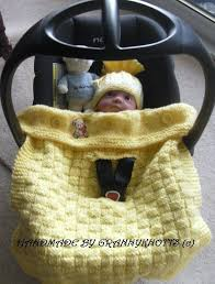 crochet baby car seat cover basket