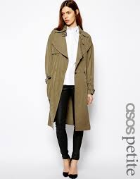 women s fashion outerwear trenchcoats olive trenchcoats asos petite petite trench in oversize d olive