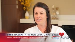 Thank a Nurse: Cristina Smith RN, MSN, CCRN, C-NPT Palm Beach Children's  Hospital | WPEC