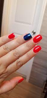 Dnd Ferrari Red With Dnd Midnight Blue I Added Regular Glitter To My Nail On Top Dnd 4ofjuly Rednails Red Nails Dnd Gel Polish My Nails