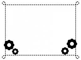 小花の点線白黒モノクロフレーム飾り枠イラスト 無料イラスト かわいい