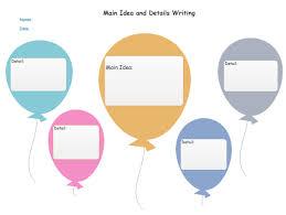 Ballon Main Idea Chart Vocabulary Graphic Organizer