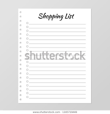 Template For Shopping List Shopping List Template Planner Page Lined Stock Vector
