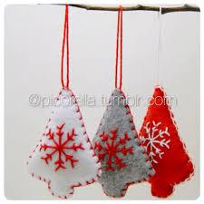 Grey Christmas Tree Set Of 3 Christmas Tree Ornament Felt Christmas Ornament