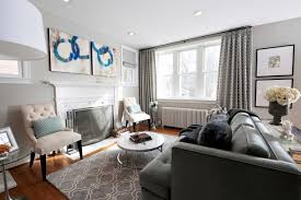 Light Gray Transitional Living Room With Gray Rug, Curtains and Sofa