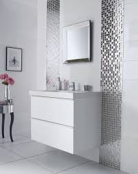 mirror mosaic tiles lines along the vanity