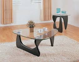 black glass coffee table set clear top