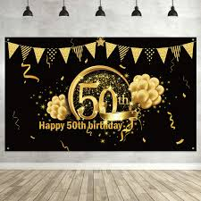 Happy 50th Birthday Tarpaulin Designs 50th Birthday Party Decoration Extra Large Fabric Sign Poster For 50th Anniversary Photo Booth Backdrop Background Banner 50th Birthday Party
