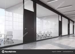 office corridor door glass. Side View Of A Row Meeting Rooms In Long Corridor. Glass Walls, Black Doors. Concept Communication. 3d Rendering. \u2014 Photo By Denisismagilov Office Corridor Door