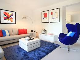 Red And Blue Living Room Red Media Console White Barn Door Eames Chairs Dark Gray Floor