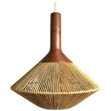 mid century modern danish pendant light in jute and teak by fog morup for