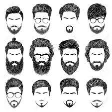 メンズの髪型ひげと口ひげのセットgentlmen 調髪及びひげそり デジタルの手にはベクトル図が描かれま