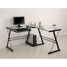 clear glass l shaped desk