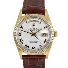 mens used day date presidents rolex watches for swiss wrist pre owned rolex mens 18k yellow gold day date president watch white r dial