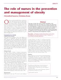 the role of nurses in the prevention and management of obesity the role of nurses in the prevention and management of obesity pdf available