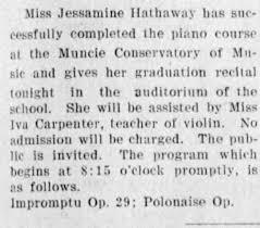 Jessamine Hathaway and music studies - Newspapers.com