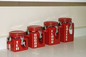 Retro Kitchen Canisters Retro Style Kitchen Canisters In Red Colors Extravagant And