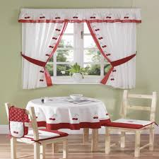 Kitchen Curtain Patterns Fascinating Kitchen Excellent Kitchen Dining Room Decoration Using Red Cherry