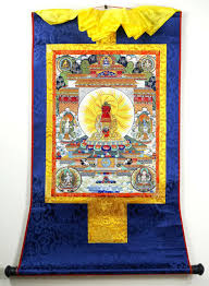 Bhavacakra Chart 13inch Mineral Color Wood Scroll Tibet Buddhist Thangka Amitabhas Rainbow Body
