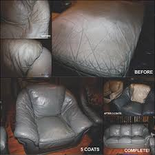 dirty and stained leather furniture suite made new with slate grey leather dye before and