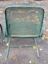 2 vintage bouncy mesh metal lawn chairs