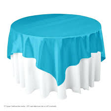70 in square tablecloth on a 60in round table in square satin overlay eggplant overlays round