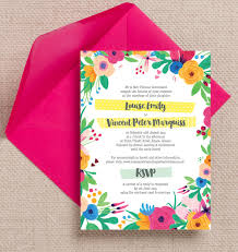17 of the best printable wedding invitations ever Pink And Green Wedding Invitation Templates bright rainbow floral flowers hand painted roses pink yellow blue green wedding invitations invites printable printed Printable Wedding Invitation Templates