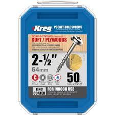 Kreg 2 1 2 In Coarse Zinc Plated Steel Square Head Pocket Screw 50 Pack
