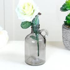 glass jug vase milk grey bud